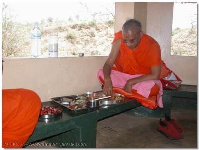 Acharya Swamishree gives His darshan whilst taking thaar