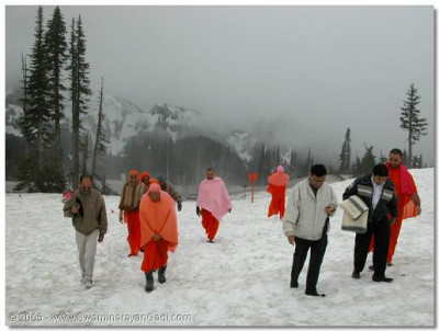 HDH Acharya Swamishree and sants climbing up Mount Ranier