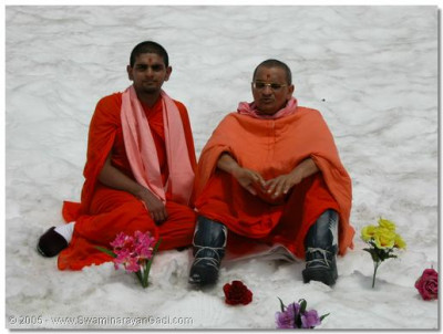 His Divine Holiness Acharya Swamishree gives darshan with Sant Shiromani Shree Sharanagatvatsaldasji Swami