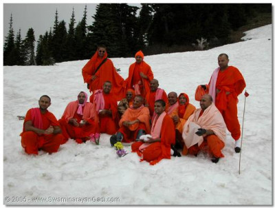 HDH Acharya Swamishree and sants on Mount Ranier