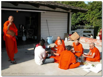 Sants and disciples preparing prasad