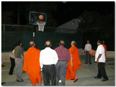 HDH Acharya Swamishree joins in with disciples to play basketball