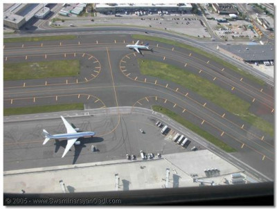 View of planes at JFK Airport from the helicopter