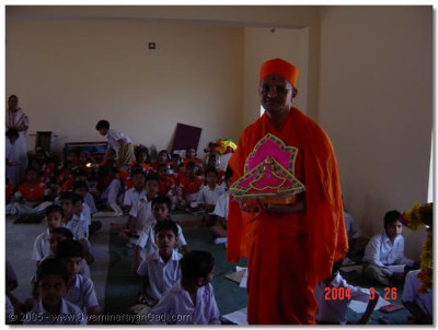 The pupils of Mahelol school were blessed by Acharya Swamishree