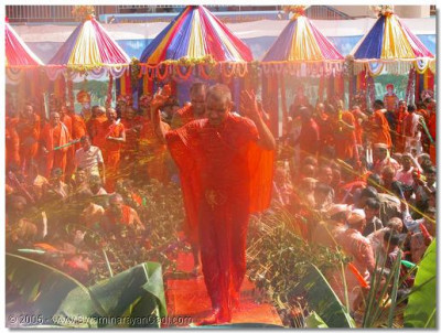 Sants and devotees are given the opportunity to squirt coloured water on Acharya Swamishree
