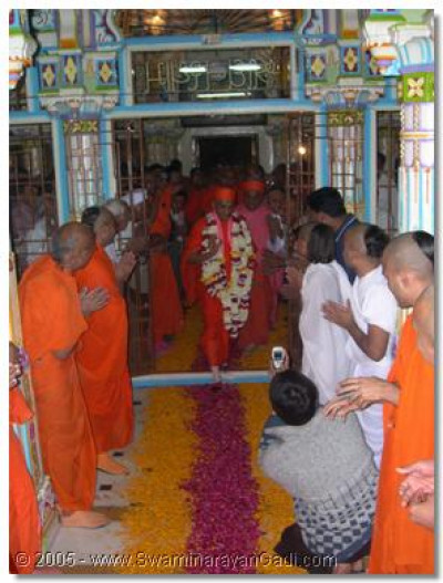 Sants and devotees do darshan of Acharya Swamishree as He enters the temple