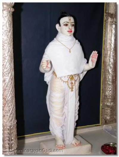 Divine darshan of Lord Swaminarayan before the panchamrut snan ceremony