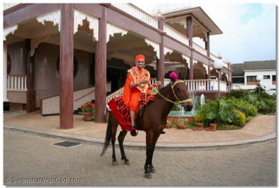 In Nairobi, Acharya Swamishree gives darshan in front of Shree Swaminarayan Temple, mounted on a horse