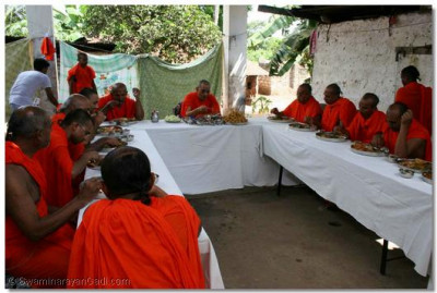 Acharya Swamishree and sants take prasad at the farm