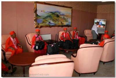 Sants wait in the VIP Lounge for the Immigration processing to be completed