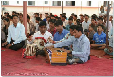 Students of the Blind Welfare Foundation perform devotional songs