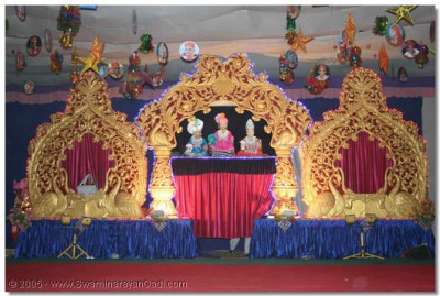 A beautifully decorated stage created by the sants for the event