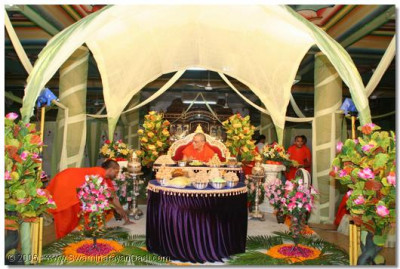 Divine darshan of Acharya Swamishree seated on a beautifully decorated stage