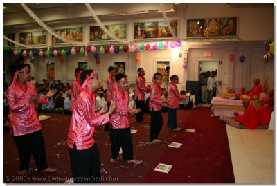 Devotees perform a devotional dance