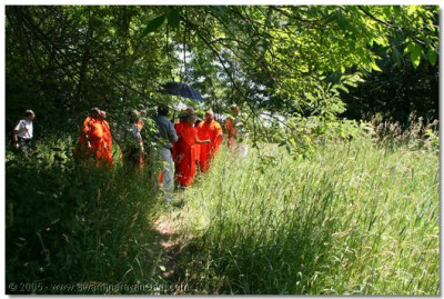 23rd June 2005. Acharya Swamishree inspects the site of the new Chicago temple at Streamwood, north-west suburb of Chicago