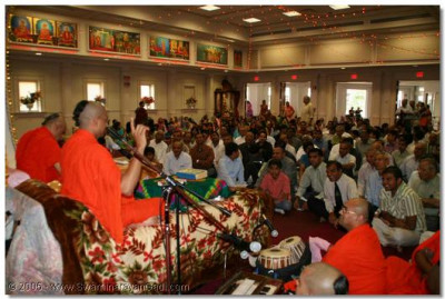 Devotees listen to recitals from the scripture Shree Swaminarayan Gadi