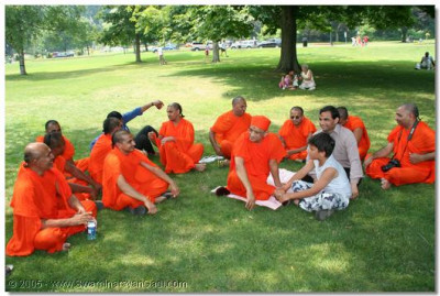 Acharya Swamishree and sants rest before going for a boat trip at the falls
