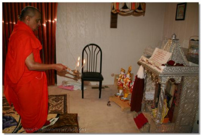 6th July 2005. Acharya Swamishree performs Mangla aarti and departs for Pensilvenia