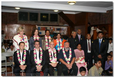Members of the London Temple committee with some of the honoured guests