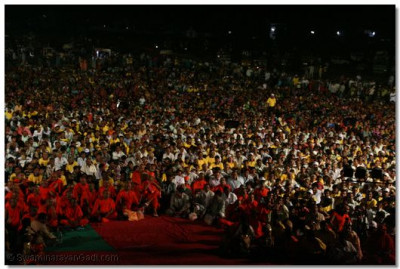 Thousands of people assembled to watch the devotional dance performances