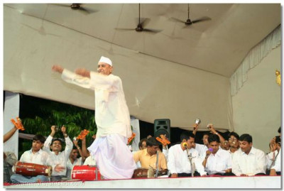 A devotee dances during the performances