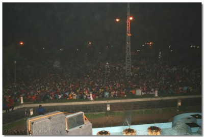 Thousands of Ahmedabad's residents watch the dance program
