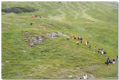 Sants and disciples trek up the mountain