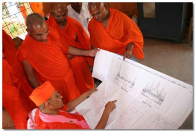 Acharya Swamishree examines the plans for the new temple