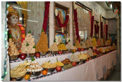 The Annakut, a grand offering of sweet dishes offered to the Lord on this special occasion