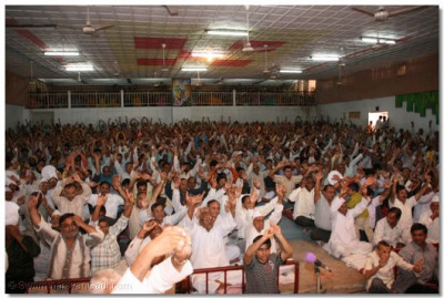 Disciples gathered in the auditorium during the Labh Pancham assembly