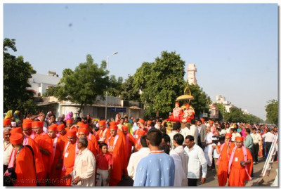 Sants and disciples had the darshan of the swagat procession