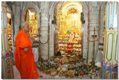 Acharya Swamishree prays to the Lord