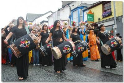Members of Shree Muktajeevan Dhol Academy in performance during the procession