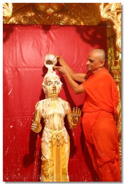 Acharya Swamishree bathes Shree Harikrishna Maharaj with yogurt