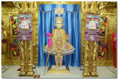 Shree Ghanshyam Maharaj – the 2 calendars hung besides the Lord, depicting the Murti of Jeevanpran Swamibapa, were published in 1978