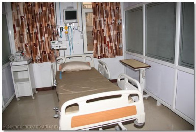 One of many patient rooms