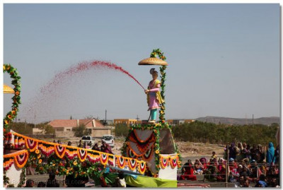 Ghanshyam Maharaj sprays colours water from the centre
