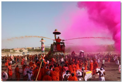 Acharya Swamishree sprays disciples with coloured water