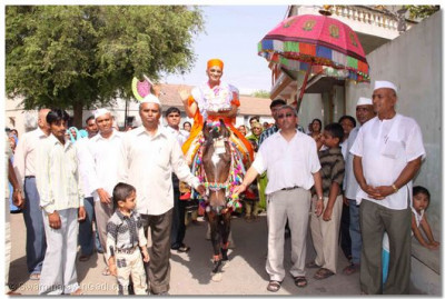 Acharya Swamishree gives His blessings seated on a horse