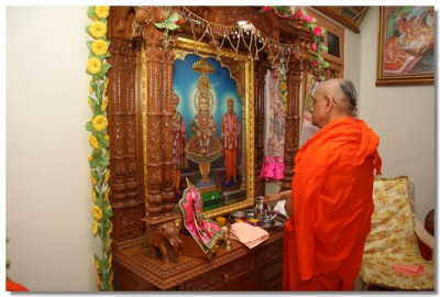 Acharya Swamishree performs the patotsav poojan in Gavada