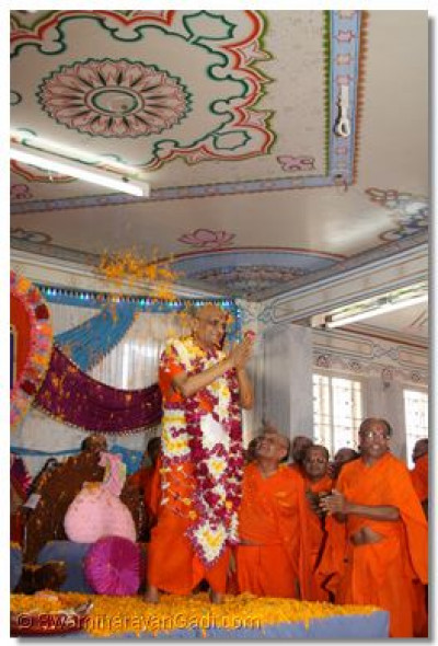 Acharya Swamishree is showered with flower petals