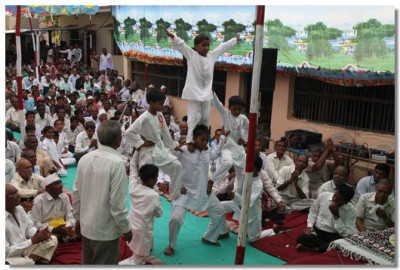 Young disciples perform a gymnastic display