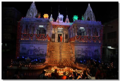 The Mandir is decorated with lights and diwas
