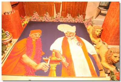 A large rangoli displayed near the office area of the Mandir