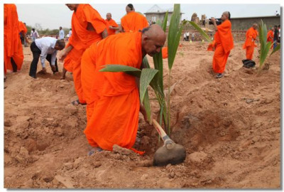 Sants and disciples planting trees