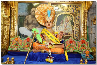Shree Sahajanand Swami Maharaj in Maninagar gives darshan at the start of the Pilgrimage