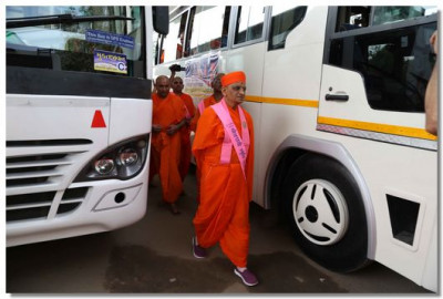 Acharya Swamishree Maharaj inspects the coaches