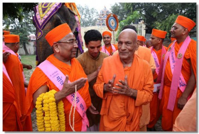Chief priests of Haridwar take part in the procession