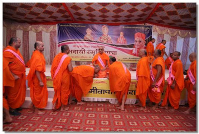 Acharya Swamishree Maharaj gives darshan to all the Sants