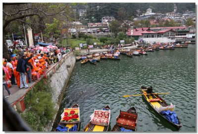 Disciples on the banks of Lake Nainital